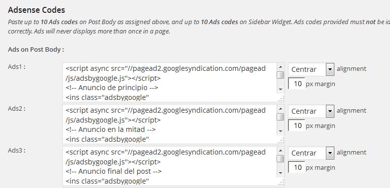 Publicidad  de Google Adsense en entradas o post en WordPress