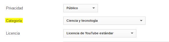 Cambiar de categoría un video de YouTube
